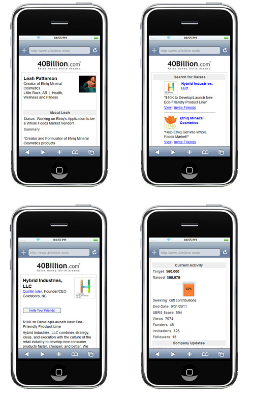 40Billion.com mobile website at 40billion.mobi