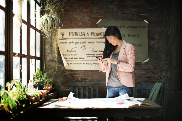 Businesswoman Holding Using Smart Phone Working Concept