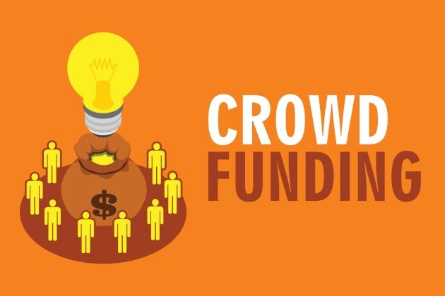 crowdfunding illustration people with orange background